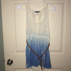 Ombré blue and white tank top